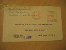 OVALLE 1965 To New York USA Cancel Meter Air Mail Cover CHILE - Chili