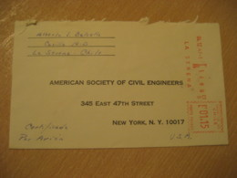 LAS ARENAS 1967 To New York USA Cancel Meter Air Mail Cover CHILE - Chili