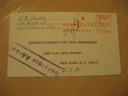 CONCEPCION 1967 To New York USA Cancel Meter Air Mail Cover CHILE - Chili
