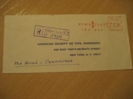 IQUIQUE 1969 To New York USA Registered Cancel Meter Air Mail Cover CHILE - Chili