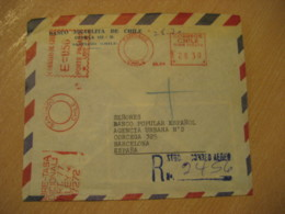 Banco Israelita De Chile SANTIAGO To Barcelona Spain Sobre Tasa Registered Cancel Meter Air Mail Cover CHILE Israel - Chili