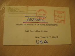 SANTIAGO 1968 To New York USA Cancel Meter Air Mail Cover CHILE - Chili