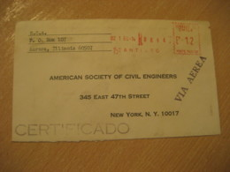 SANTIAGO 1966 To New York USA Registered Cancel Meter Air Mail Cover CHILE - Chili