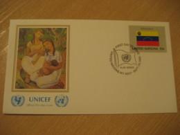 NEW YORK 1980 UNICEF Flag Bandera UN United Nations USA Cancel Cover VENEZUELA - Venezuela