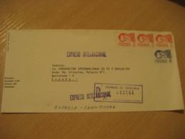 CARACAS 1978 To Barcelona Spain Registered Expreso Internacional Special Delivery Cancel Cover VENEZUELA - Venezuela