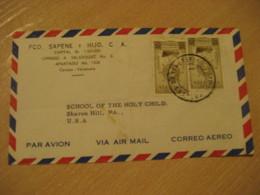 CARACAS 1953 To Sharon Hill USA Air Mail Cancel Cover VENEZUELA - Venezuela