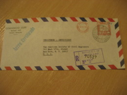 CARACAS 1971 To New York USA Registered Meter Air Mail Cancel Cover VENEZUELA - Venezuela