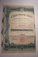 ACTION DE  CENT  FRANCS  - L' ELECTRIFICATION   Etablissements  L . GUILLOT  ( 1926 ) - Electricité & Gaz