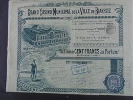FRANCE - CASINO VILLE DE BIARRITZ - ACTION DE 100 FRS - PARIS 1900 - BELLE DECO-TITRE AYANT CIRCULE SANS COUPONS - Actions & Titres