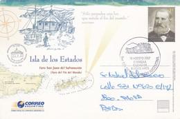 ISLA DE LOS ESTADOS-FARO FIN DEL MUNDO LIGHTHOUSE-ENTERO ENTIER ARGENTINE CIRCULEE A LA PLATA FDC OBLITERE 2007- BLEUP - Ganzsachen