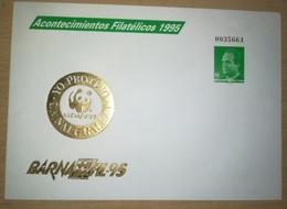 ESPAÑA SPAIN ESPAGNE SPANIEN BARNAFIL 95 EDIFIL 27 IMPRESIÓN EN ORO GOLD SOBRE ENTERO POSTAL SEP FAUNA WWF 1995 - Enteros Postales