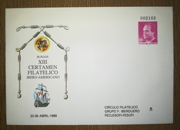 ESPAÑA SPAIN ESPAGNE SPANIEN XIII CERTAMEN FILATÉLICO IBEROAMERICANO BURGOS 1989 EDIFIL 12 SOBRE ENTERO POSTAL SEP - Enteros Postales