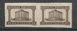 Portugal Scott#563 Essay Proofs Horizontal Imperforated Pair 1936 Roman Temple, Evora MNG / (*) / No Gum As Issued - Proofs & Reprints