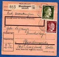 Colis Postal  - Départ Montingen  Pour Farrebersviller  --  03/3/1943 - Allemagne