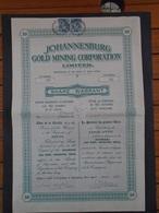 AFRIQUE DU SUD - JOHANNESBURG GOLD MINING - TITRE DE 50 ACTIONS - 1937 - Actions & Titres