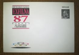 ESPAÑA SPAIN ESPAGNE SPANIEN EXFILNA 87 GERONA 1987 EDIFIL 10 SOBRE ENTERO POSTAL SEP - Enteros Postales