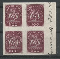 Portugal Scott#703 Essay Proofs Vertical Imperforated Block Of 4 Caravelle 1948 MNH / ** / Mint Never Hinged - Proofs & Reprints