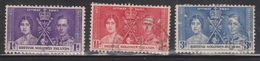 BRITISH SOLOMON ISLANDS Scott # 64-6 Used - KGVI Coronation Issue - British Solomon Islands (...-1978)