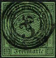BADEN 1854, Nr. 6, 3 Kr. GRÜN,NR-STPL-25, KLAR VON KONSTANZ, SEM 15,- - Bade