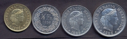 Switzerland Swiss 5 10 20 50 Rappen 1998 XF / UNC (Set 4 Coins) - Suisse