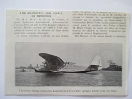 (1937) Port Lyautey - Départ Hydravion Latecoere 521 Pour Maceio Brésil  - Coupure De Presse Originale (Encart Photo) - Documents Historiques