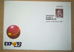 ESPAÑA SPAIN ESPAGNE SPANIEN EXPOSICIÓN FILATÉLICA RUMBO AL 92 EDIFIL 6 SOBRE ENTERO POSTAL SEP 1987 - Enteros Postales