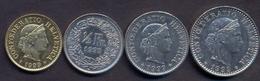 Switzerland Swiss 5 10 20 50 Rappen 1999 XF / UNC (Set 4 Coins) - Suisse