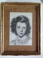 Superbes Portraits Féminins Crayon Sur Papier Double Face :Visage De Jeune Fille, Jeune Femme Aux Mains Croisées , Signé - Dessins