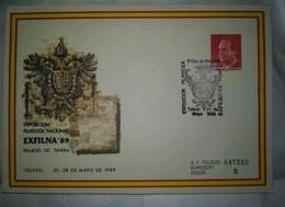 ESPAÑA SPAIN ESPAGNE SPANIEN EXFILNA 89 TOLEDO SOBRE ENTERO POSTAL SEP MATASELLADO PRIMER DIA FDC 1989 EDIFIL 13 - Enteros Postales
