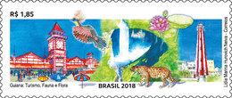 Brazil 2018 Stamp Guyana Tourism, Fauna Flora Watch Lighthousr Tiger - Brazil