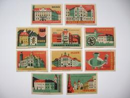 Czechoslovakia Series 10 Matchbox Label 1964 - Czech Museum - Cheb, Hradec Kralove, Podebrady, Teplice, Brno... - Boites D'allumettes - Etiquettes