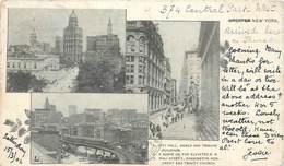 CPA USA Greater New York Pioneer Précurseur City Hall Wall Street  Washington Monument Trinity Church 1902 - Viste Panoramiche, Panorama