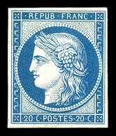 * N°8f, Non émis, 20c Bleu Impression De 1862, Fraîcheur Postale, TTB (certificat)  Qualité: *  Cote: 800 Euros - 1849-1850 Ceres