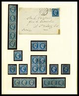 O 20c Empire: Collection Presentée Sur 7 Pages D'Album Dont Lettres, Nuances, Bandes, Blocs, Oblitérations, Piquages... - 1853-1860 Napoleon III