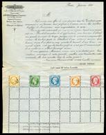O Prospectus Imprimé Des Frères Susse à Paris Daté De Janvier 1861 Avec Un Exemplaire Perforés Du 10c, 5c, 20c, 40c Et 8 - 1853-1860 Napoleon III