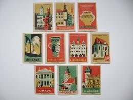 Czechoslovakia Series 10 Matchbox Label 1964 - Czech Museum - Gottwaldov, Brno, Jihlava, Pardubice, Opava... - Boites D'allumettes - Etiquettes