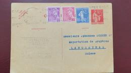 Entier Postal Paix 90 Ct Complément Semeuse Et Mercure Caen 1939 Pour La Suisse - Cartes Postales Types Et TSC (avant 1995)