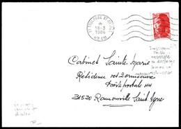 O N°2376, 2,20F Liberté: Impression Double Inversée Par Décalque Sur Lettre De Toulouse Le 18/3/86. SUP. R.R. (signé Cal - Errors & Oddities