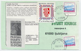 CROATIA 1991 Croatian Workers Organisation Postal Tax In Combination With Yugoslavia Definitive Used On Postcard. - Croatia