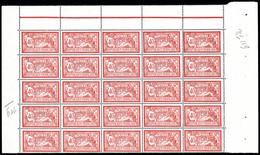 ** N°119, Merson, 40c Rouge Et Bleu En Panneau De 25 Exemplaires Encadré, SUP (certificat)  Qualité: **  Cote: 1625 Euro - Feuilles Complètes