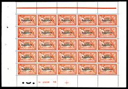 ** N°145-CI 2, 2F Orange Et Vert-bleu Surchargé 'SPECIMEN' En Feuille De 25 Exemplaires Avec Croix De Repère Et Numéro,  - Feuilles Complètes