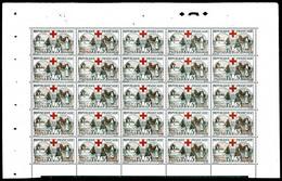 ** N°156, Infirmière, 15c +5c Noir Et Rouge En Panneau De 25 Exemplaires Haut De Feuille, Bon Centrage. TTB. R. (certifi - Feuilles Complètes
