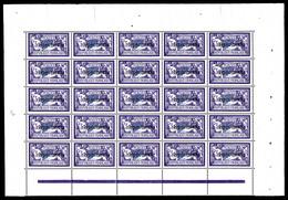 ** N°206-CI 1, 3F Violet Et Bleu Surchargé 'SPECIMEN' En Feuille De 25 Exemplaires, Très Bon Centrage, SUP (certificat)  - Feuilles Complètes
