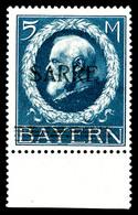 ** SARRE, N°30, 5 M Bleu, Bord De Feuille, Fraîcheur Postale. SUPERBE. R. (signé Scheller/certificat)  Qualité: **  Cote - Sarre