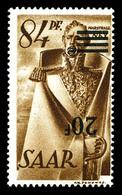 ** SARRE, N°227Ab, 20f Sur 84p Sépia, Surcharge Renversée. SUP. R. (signé Scheller/certificat)  Qualité: **  Cote: 3000  - Sarre