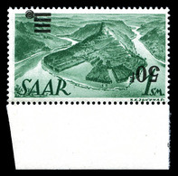 ** SARRE, N°228Aa, 50f Sur 1m Vert, Surcharge Renversée Bdf. SUP. R. (signé Scheller/certificat)  Qualité: **  Cote: 300 - Sarre