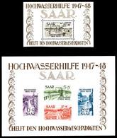 * SARRE, Blocs Et Feuillets: N°1/2, Les 2 Blocs. TB (certificat)  Qualité: *  Cote: 750 Euros - Sarre
