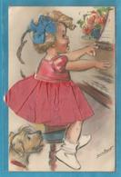 Carte  De Gemaine Bouret Peu Courante Avec Personnage En Relief Ajoutis Dentelle Et Paillettes Fillette Piano Chien - Bouret, Germaine