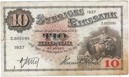 Suecia - Sweden 10 Kronor 1937 Pick 34t Ref 3 - Suecia