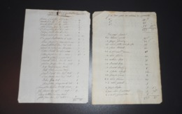 Lot De 4 Documents Liste Cotisation L'Abergement De Varey Ain Refonte Clocher - Documents Historiques